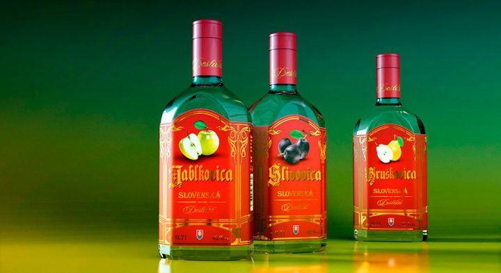 Etikety<br>Slovenské destiláty<br>Jablkovica, Slivovica, Hruškovica