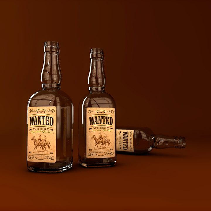 "Etiekta ""Wanted whisky""<br>(nerealizované)"